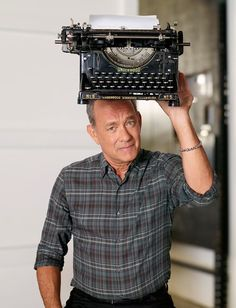 In the downtime between movies, Tom Hanks has written his first collection of short stories./ How groovy is Tom Hanks? Tom Hanks Quotes, Hello Movie, Tom Hanks Movies, Denis Villeneuve, Actor Studio, Adam Sandler, Vintage Typewriters, Robin Williams, Forrest Gump