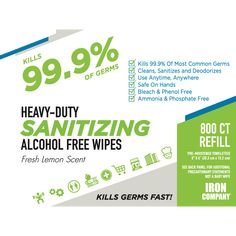 IRON COMPANY sanitizing wipes are an important part of a comprehensive sanitizing and disinfecting campaign to help prevent the spread of COVID-19, SARS and other viruses, bacteria and germs known to cause illness. Fitness Accessories, Workout Accessories, Alcohol Free, Deodorant, Campaign, Iron, Cleaning, Home Cleaning, Steel
