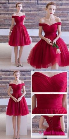 Red Homecoming Dresses,off the shoulder Homecoming Dresses,Simple Homecoming Dresses,tulle cocktail dress PD20185837