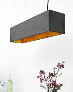 Minimalistische Designer Pendelleuchte Aus Beton Mit Silberner Innenbeschichtung Quadratische Design Lampe Hngeleuchte Handgefertigt In Berlin