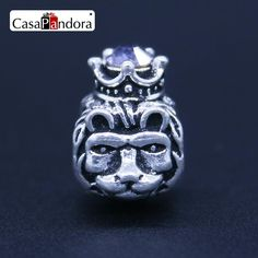CasaPandora Fashion European Silver Plated Head Of Male Lion The Lion King With Crown Fit Bracelet Charm DIY Jewelry Making