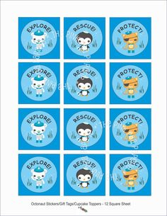 Stickers or gift tags. Perfect because Milo thinks mama = Peso; Pablo = Kwazii; Milo = Capt. Barnacles.