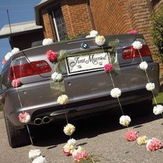 """Decorate the bride and groom's car with a romantic and celebrity announcement when you use Black and White """"Just Married"""" Paper License Plates."""