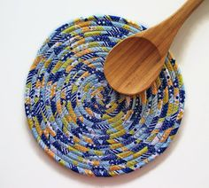 FABRIC COIL TRIVET  Yellow Blue Green Trivet  by Jambearies