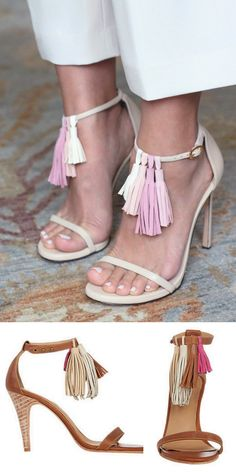 DIY Tassel Sandals Tutorial from Honestly WTF. This is a great way to update or change up strappy. And the best part? The tassels are interchangeable and can be slid on and off the sandal strap. For pages of DIY shoe ideas go here.Top Photo: DIY from Honestly WTFBottom Photo: $450 Ulla Johnson's Luz heels