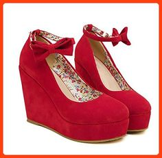 Michael Palmer Sexy Women Fashion Wedges Red Black High Heels Platform Pumps Red 7 (*Partner Link)