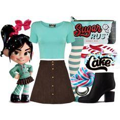 Disney Bound - Vanellope Von Schweetz-possible WDW Halloween costume? Disney Bound Outfits Casual, Cute Disney Outfits, Disney Princess Outfits, Disney Dress Up, Disney Themed Outfits, Cute Outfits, Princess Inspired Outfits, Disney Clothes, Disney Halloween