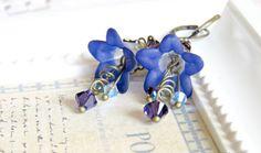 Midnight Blue Lucite Flower Earrings Blue by SahetahsJewelry