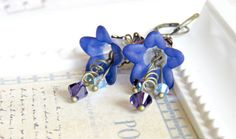 Midnight Blue Lucite Flower Earrings Blue by SahetahsJewelry