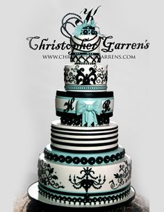 Tiffany Turquoise, Black & White - Bows & Filigree Wedding Cake