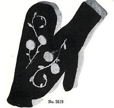 Ladies Mittens #5619 knit pattern originally published in Two-Needle Mittens, Jack Frost #56.