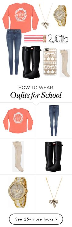 """""""School """" by annabeth12345 on Polyvore featuring 7 For All Mankind, Marc Jacobs, Michael Kors, Hunter, Casetify and UGG"""