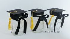 Graduation Party Decorations, Graduation Centerpieces, Graduation Caps, Graduation Party, Mason Jar Centerpieces, Black and Gold, Set of 3 by LimeAndCo on Etsy https://www.etsy.com/listing/287437913/graduation-party-decorations-graduation