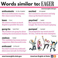 """adjectives similar to the word """"eager"""""""