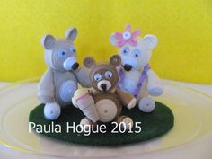 quilled Teddy Bear family