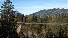 The pedestrian suspension bridge 'Raiffeisen Skywalk' is the highlight of the Sattel-Hochstuckli adventure area. Visitors enjoy the experience of being on Europe's longest pedestrian suspension bridge, which is 1227ft long and 190ft high.