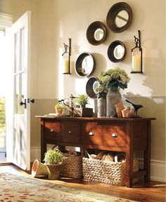 pottery barn entry table | pottery barn decorating
