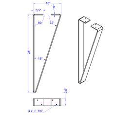 Modern flat bar table legs for sale