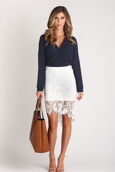 Noelle White Fitted Lace Skirt
