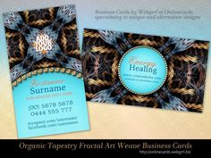 Organic Tapestry Gold Blue Customizable Business Cards