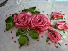 Large Silk Embroidered Flowers (Arabic)