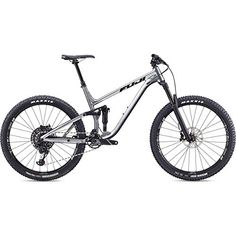 Fuji Auric Full Suspension Bike 2019 Silver - The Auric is the perfect full-suspension match for technical trail riding. All Mountain Bike, Full Suspension, Online Bike Store, Bottom Bracket, Trail Riding, Bmx Bikes, Cycling Gear, Fuji, Biking