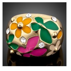 Gold Plated Flower And Butterfly Oil Painting Pattern Ring
