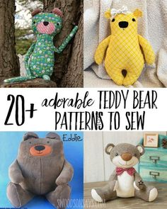 The most adorable teddy bear sewing patterns. Super sweet stuffed animal bears to sew and snuggle - including memory bear sewing patterns and free bear stuffie sewing patterns. baby toys patterns teddy bears of the cutest teddy bear sewing patterns Sewing Basics, Sewing Hacks, Sewing Tutorials, Sewing Crafts, Sewing Tips, Sewing Ideas, Clay Tutorials, Amigurumi Free, Teddy Bear Sewing Pattern