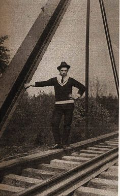 """John Dillinger on the tracks outside of his uncle's house in Mooresville, Indiana.  From: Author Tony Stewart on """"John Dillinger (Unofficial)"""" group on Facebook."""
