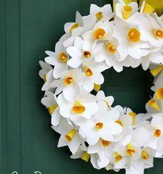 ❤ Papír nárcisz koszorú egyszerűen ( fültisztító pálcikákkal ) ❤Mindy -  kreatív ötletek és dekorációk minden napra