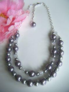 Swarovski mauve & light grey pearls.