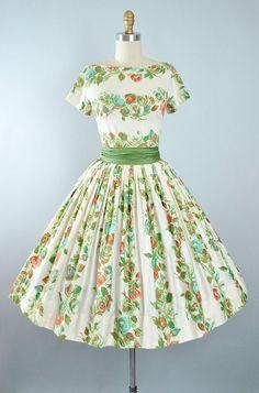Vintage 50s ROSE Print Dress / 1950s Cotton Sundress Mint Blue