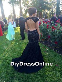 black lace prom dresses,mermaid prom dresses,cap sleeve,open back,sexy,prom dresses 2015