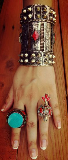 Turquoise ring Afghani Tribal Ring. Vintage by ZamarutJewel
