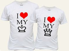 Want to share your relationship with the rest of the world? Do it by simply putting them on couple shirts! A wide array of cute t-shirts are waiting for you on this side. Cute Couple Shirts, Couple Tees, Matching Couple Shirts, Matching Couples, Couple Stuff, Geile T-shirts, King Shirt, Couple Outfits, Shirt Designs