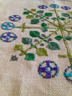 50s mid century modern vintage tablecloth. Made in Sweden. Hand embroidered. Craft