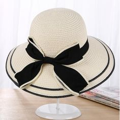 #FASHION #NEW Sun Hat Big Black Bow Summer Hats For Women Foldable Straw Beach Panama Hat Visor Wide Brim Femme Female 2018 New
