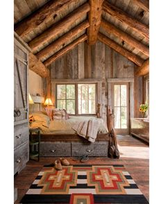 Headwaters Camp Cabin by Dan Joseph Architects  #danjosepharchitects #bigsky #cabin #bedroom #rustic #interior #interiors #interiordesign #design #architecture @homeadore