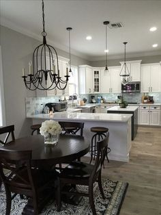 small living dining room decorating ideas - Expolore the best and the special ideas about Dining room design Kitchen Dinning, Kitchen Redo, Kitchen Layout, Home Decor Kitchen, Kitchen Design, Fireplace Kitchen, Kitchen Ideas, Dining Table, Kitchen Islands