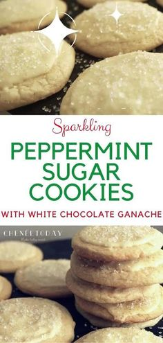 Easy recipe for soft, chewy peppermint sugar cookies topped with a creamy white chocolate ganache, finished with sparkling sugar. Perfect for Christmas! #christmascookies #peppermintsugarcookierecipe #sugarcookies #sugarcookierecipe Chocolate Mint Cookies, White Chocolate Ganache, Soft Sugar Cookies, Cake Mix Cookies, Sugar Cookies Recipe, Raisin Cookies, Melting Chocolate, Spritz Cookies, Easy Homemade Cookie Recipes
