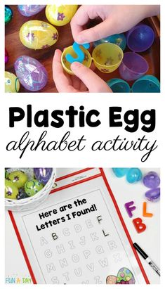 Easter alphabet activity using plastic eggs and free printable recording sheet