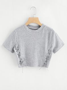 High Neck Eyelet Lace Up Crop TeeFor Women-romwe High Neck Eyelet Lace Up Crop TeeFor Women-romwe Crop Top Outfits, Cute Casual Outfits, Belly Shirts, Cute Crop Tops, Grey Shirt, Shirt Men, Teen Fashion Outfits, Crop Tee, Ideias Fashion