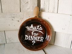 Hand painted sign ceramic frying pan upcycled whats by AVelvetLeaf, $15.00