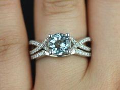 Emma 14kt White Gold Vintage Inspired Aquamarine and Diamond Pave Wedding Set