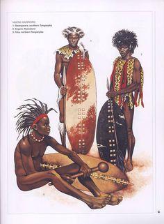 Ngoni Warriors. 1:Gwangwara,southern Tanganyika.2:Angoni,Nyasaland.3:Tuta,northern Tanganyika.