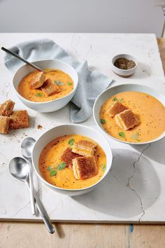 Tomato-Basil Soup with Grilled Cheese Croutons   | MyRecipes