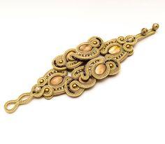 Big unique bracelet with gold soutache feminine jewelry by MANJApl, $130.00