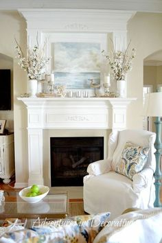 tweaks in our summer great room, home decor, living room ideas, Our nautical mantel will sooooon transition to our Fall mantel summer is going by way too fast Coastal Living Rooms, Living Room White, White Rooms, New Living Room, Living Room Decor, White Walls, Chimney Decor, Fireplace Seating, George Nelson