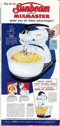 1952 Sunbeam Mixmaster Vintage Ad - 1950s Kitchen Retro.  My Grandmother had this