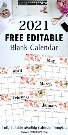 You'll LOVE this fully editable 2021 calendar template. Easily type your schedules and activities in the fillable monthly calendar template! #editablecalendar #freecalendar #calendar2021 #freeprintables #freeplanners